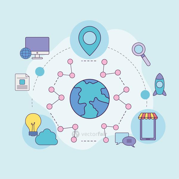 Digital marketing world with icons vector design