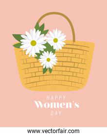 happy womens day lettering and picnic basket with three white flowers