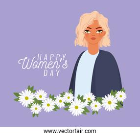 happy womens day lettering, woman with blond hair and withe flowers