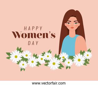 happy womens day lettering, woman with brown hair and withe flowers
