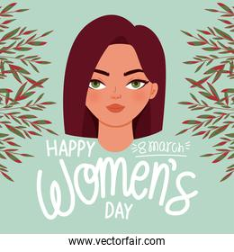 happy 8 march womens day lettering and cute woman with red hair
