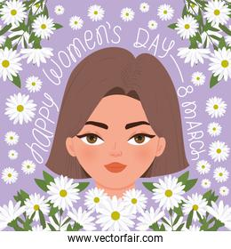 happy womens day 8 march lettering with beautiful woman