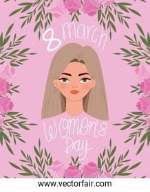 8 march womens day lettering and beautiful woman with light brown hair