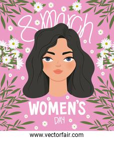 8 march womens day lettering and cute woman with black hair