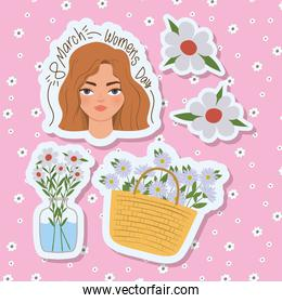 8 march womens day lettering with cute woman and white flowers