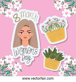 8 march womens day lettering, beautiful woman with light brown hair and baskets with flowers