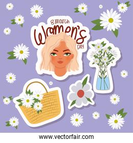 8 march womens day lettering, woman with a blond hair and basket with white flowers