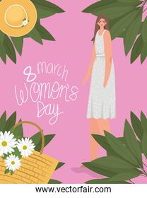 8 march womens days lettering and pretty woman in gray dress