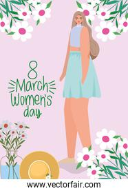 8 march womens days lettering and cute woman with blue skirt