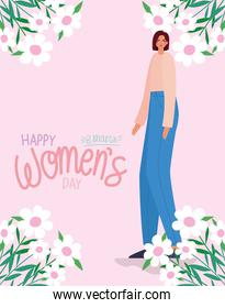 8 march womens days lettering and cute woman with blue jeans