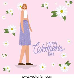 8 march womens days lettering and cute woman with purple skirt
