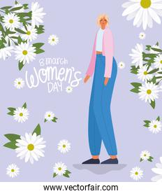 8 march womens days lettering and woman with blond hair and a blue jean