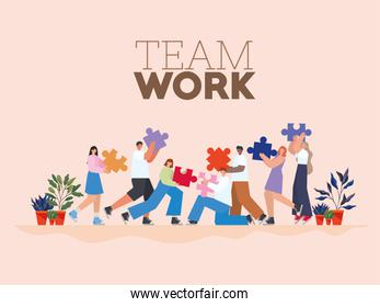team work lettering and group of people with puzzle pieces