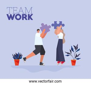 team work lettering and man and woman with one piece of puzzle each