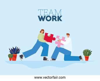 team work lettering and man and woman with one piece of puzzle each on a blue background