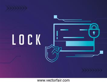 Cyber lock website with shield and padlock vector design