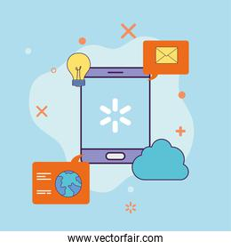 Digital marketing smartphone with cloud and icons vector design