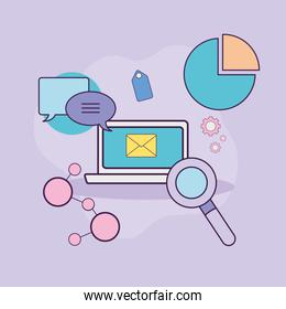 Digital marketing laptop with icons vector design
