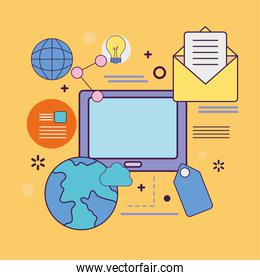 Digital marketing tablet with world and icons vector design