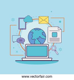 Digital marketing laptop with world and icons vector design