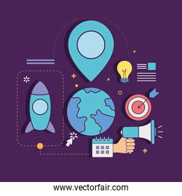 Digital marketing world with gps mark and icons vector design