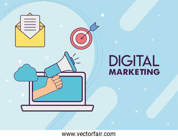 Digital marketing laptop with megaphone and icons vector design