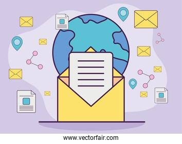 Digital marketing envelope with world and icons vector design
