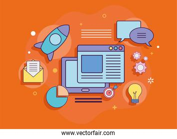 Digital marketing tablet with website and icons vector design