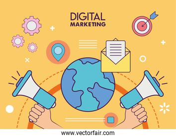 Digital marketing megaphones with world and icons vector design