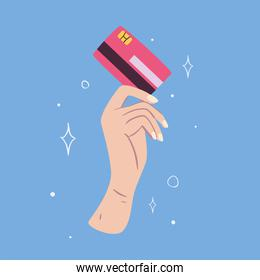 Hand holding red credit card on blue background vector design