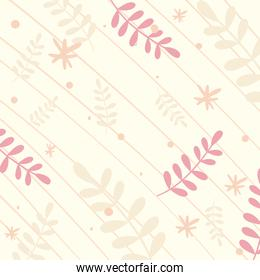 Abstract pattern background with leaves and lines vector design