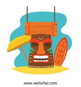 hawaiian tiki mask with surfboard and parasol, colorful design