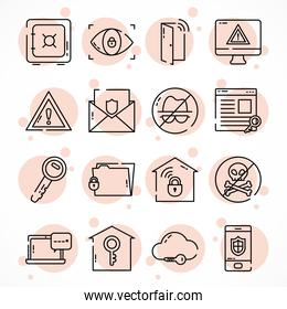 icon set of cyber security, half line style