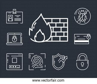 security and cyber lock icon set, half line style