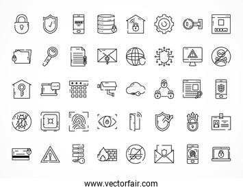 cyber security icon set, half line style