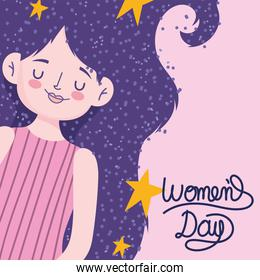 womens day cute woman with stars in long purple hair
