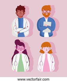 medical staff female and male physician characters set