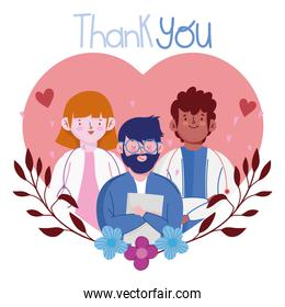 thank you, staff medical professional characters in heart