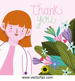 thank you, female doctor cartoon with flowers card