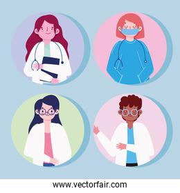 doctors women and man with protective suits mask icons style