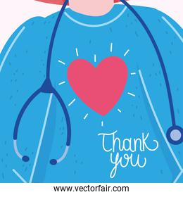 thank you, protective suit stethoscope with heart