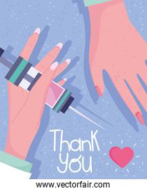 thank you, hands female doctor with syringe medical equipment
