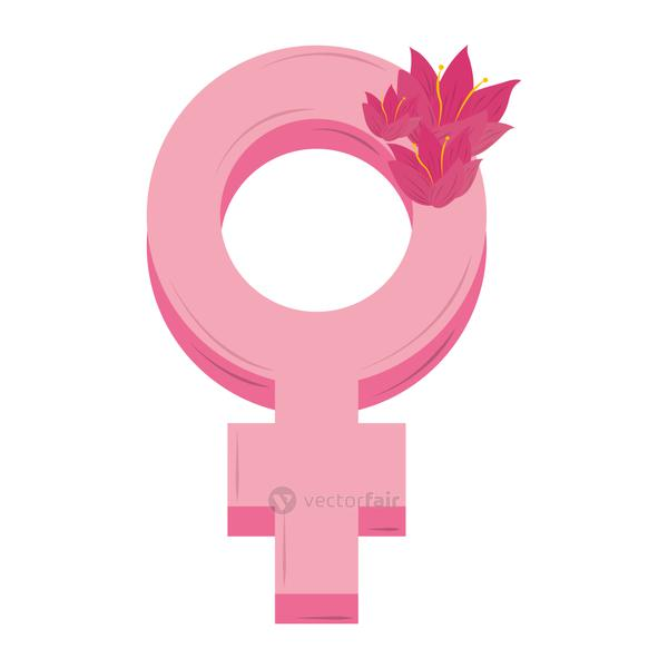 womens day pink gender female and flowers design vector
