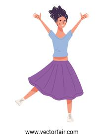 young woman happy jumping character