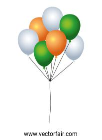 balloons helium floating with ireland flag colors