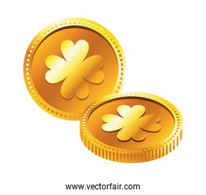 golden coins with clovers saint patrick icon