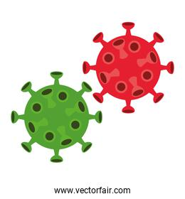 covid19 virus particles isolated icons