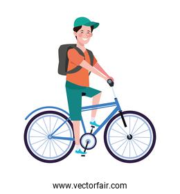 man in bicycle character healthy lifestyle