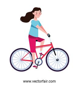woman in bicycle character healthy lifestyle
