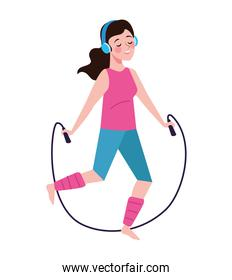 woman jumping rope character healthy lifestyle
